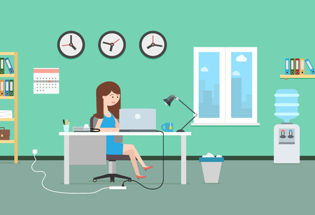 Happy woman working with laptop. Office interior and workplace. Business illustration in modern flat style