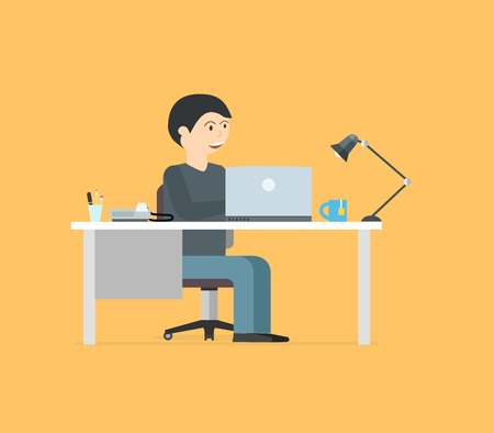 Happy businessman working with laptop. Business illustration in modern flat style