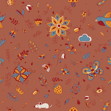 Cute hand drawn floral seamless  summer forest  pattern. Doodle animals, birds, insects, herbs and flowers. Vector illustration Ilustrace