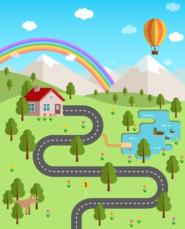 Summer landscape with mountains, forest, rainbow, air balloon, wild animals and  ducks on the lake. Weekend in nature. House in the forest vector flat illustration. Ilustrace