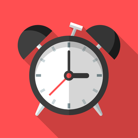 Colorful alarm clock icon in modern flat style with long shadow. Vector illustration Ilustrace