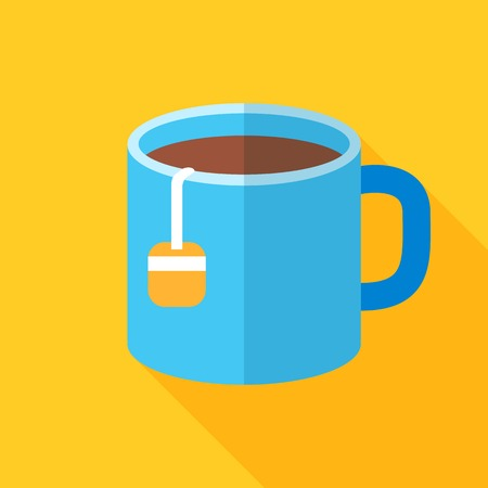 Colorful cup of tea icon in modern flat style with long shadow. Vector illustration