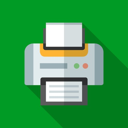 Colorful printer icon in modern flat style with long shadow. Vector illustration Ilustrace