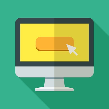 Colorful computer icon in modern flat style with long shadow. Vector illustration Ilustrace