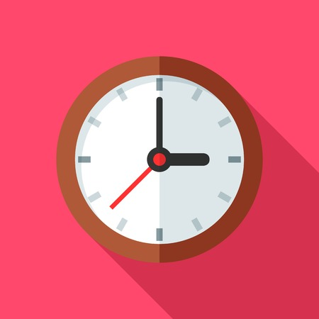 Colorful clock icon in modern flat style with long shadow. Vector illustration