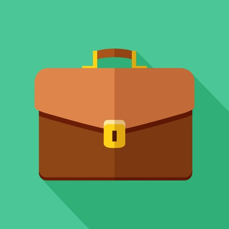 Colorful briefcase icon in modern flat style with long shadow. Vector illustration