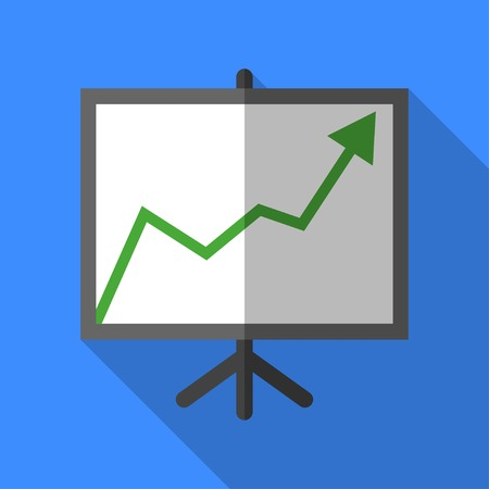 Colorful chart board icon in modern flat style with long shadow. Vector illustration