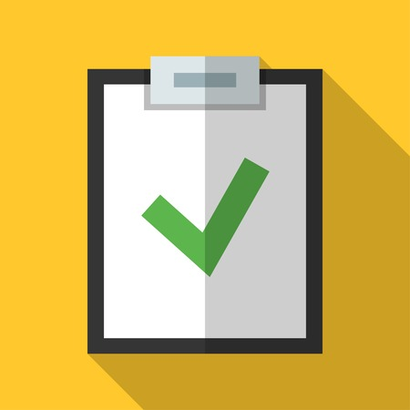 Colorful clipboard icon in modern flat style with long shadow. Vector illustration
