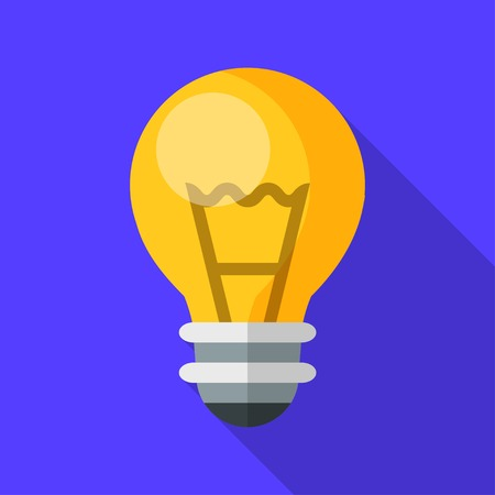 Colorful  electric light bulb icon in modern flat style with long shadow. Vector illustration