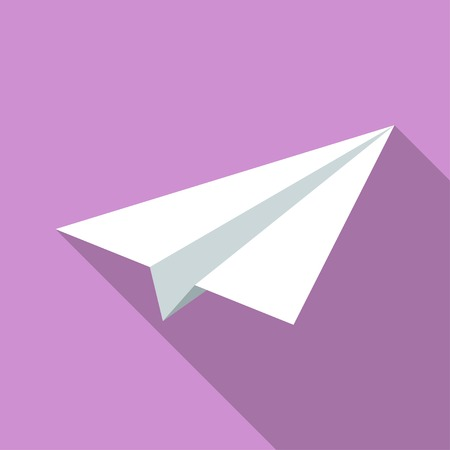 Colorful paper plane icon in modern flat style with long shadow. Vector illustration