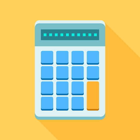 Colorful calculator icon in modern flat style with long shadow. Vector illustration Ilustrace