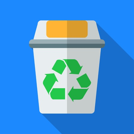 Colorful recycle bin icon in modern flat style with long shadow. Vector illustration Ilustrace