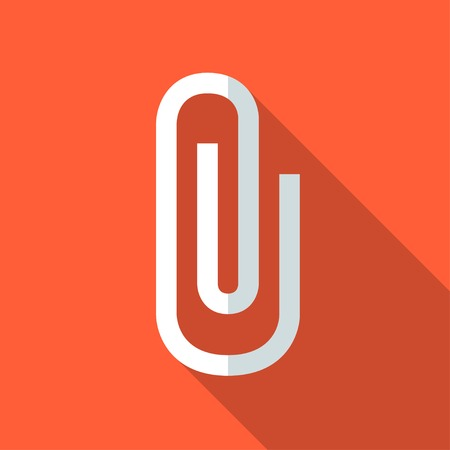Colorful paper clip icon in modern flat style with long shadow. Vector illustration
