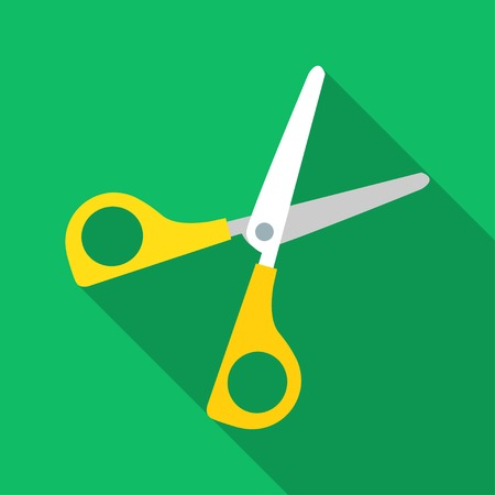 Colorful scissors icon in modern flat style with long shadow. Vector illustration