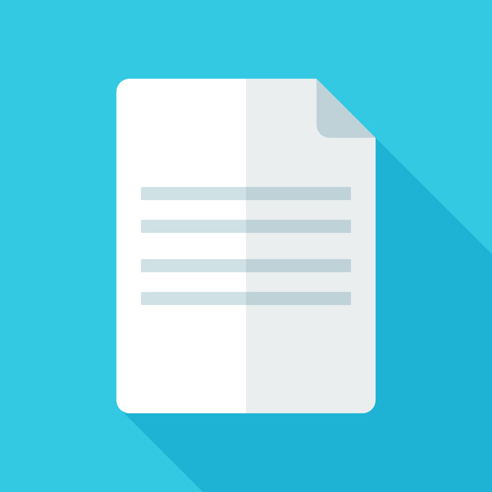 Colorful document icon in modern flat style with long shadow. Vector illustration Ilustrace