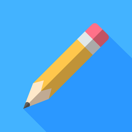 Colorful pencil icon in modern flat style with long shadow. Vector illustration