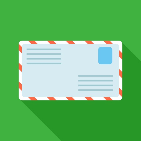 Colorful letter mail icon in modern flat style with long shadow. Vector illustration