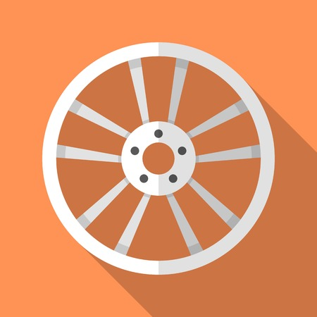 rim: Colorful car disk wheel rim icon in modern flat style with long shadow. Car parts and service vector illustration