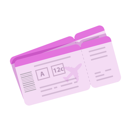 Cartoon boarding pass vector illustration. Tickets for travel by airplane icon in flat style isolated on white background Reklamní fotografie - 68869958