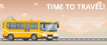Time to travel. Flat vector yellow bus goes on the highway in the desert. Mountains, road and clouds landscape. Banner concept template