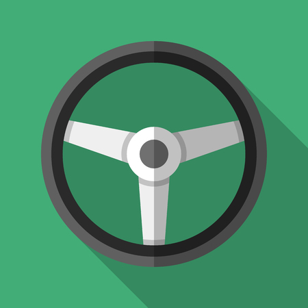 Colorful steering wheel icon in modern flat style with long shadow. Car parts and service vector illustration