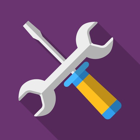 Colorful screwdriver and wrench icon in modern flat style with long shadow. Car parts and service tools vector illustration Reklamní fotografie - 68869963