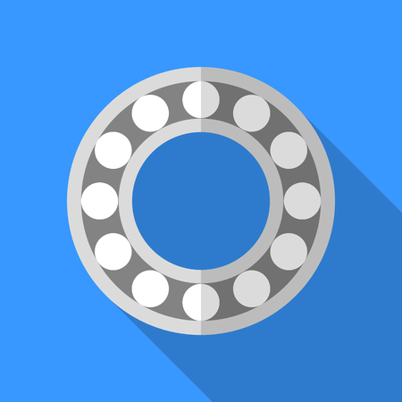 Colorful bearing icon in modern flat style with long shadow. Car parts and service vector illustration
