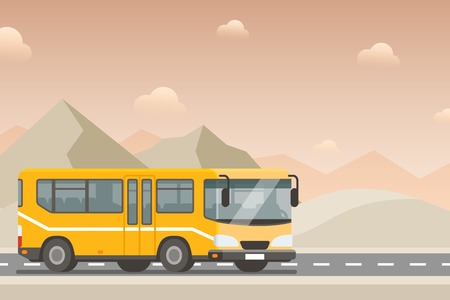 Yellow bus goes on the highway in the desert. Mountains, road and clouds landscape flat vector illustration