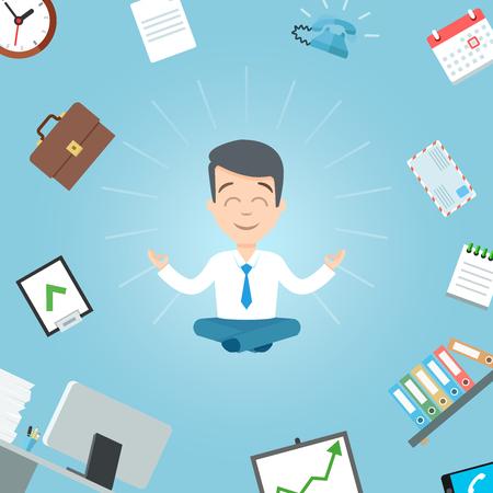 Happy businessman meditating in the office. Business yoga office worker meditation vector illustration Ilustrace