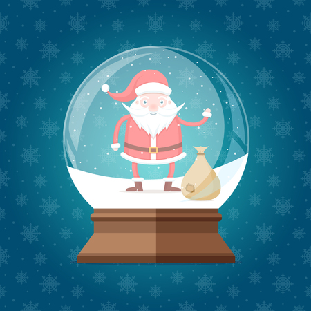 Magic glass snow globe with cute and  happy Santa Claus with bag inside. Christmas winter snowglobe gift on seamless snowflakes pattern vector illustration Ilustrace