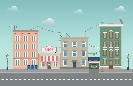 Day city urban landscape. Small town vector illustration in flat style Reklamní fotografie - 68869970
