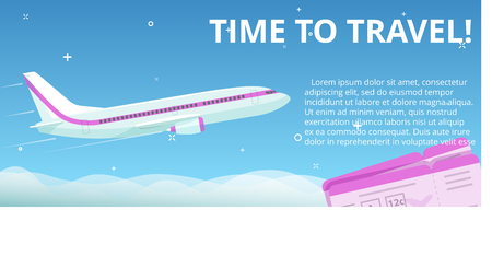 time flies: Time to travel. Flat vector plane flies in the night sky with stars under the clouds. Banner concept template Illustration