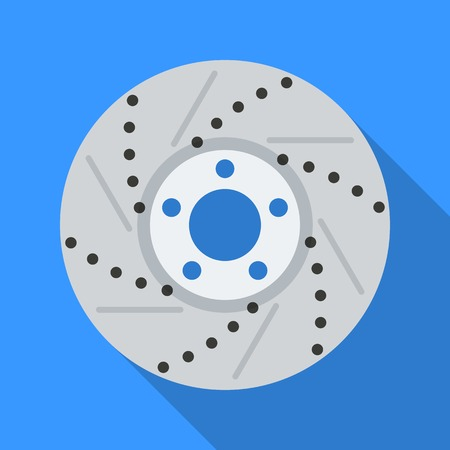 Colorful brake disc icon in modern flat style with long shadow. Car parts and service vector illustration