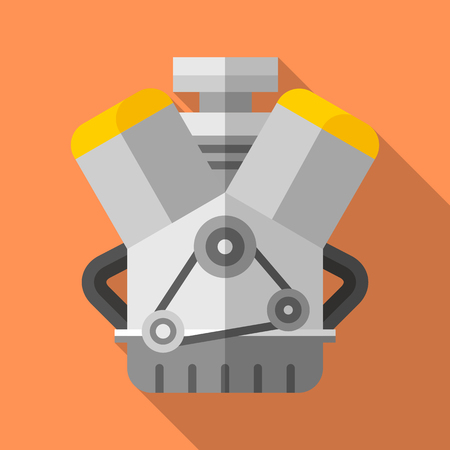 Colorful v twin engine icon in modern flat style with long shadow. Car parts and service vector illustration Ilustrace