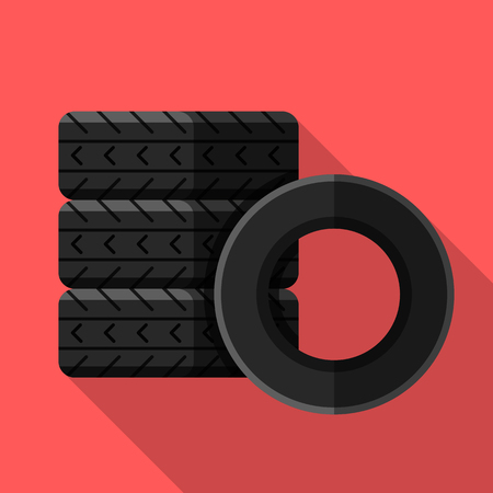 Colorful car tires icon in modern flat style with long shadow. Car parts and service vector illustration
