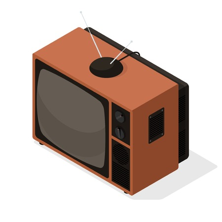 Isometric vector icon of retro television tv set with aerial on the top. Old style isometric 3d TV illustration isolated on white background Ilustrace