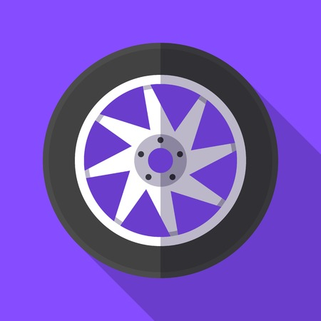 Colorful wheel and tyre icon in modern flat style with long shadow. Car parts and service vector illustration Ilustrace