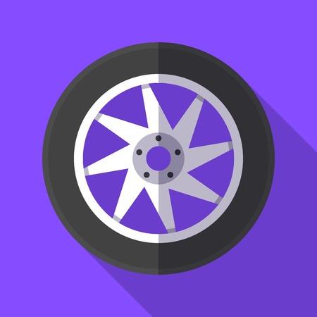 Kleurrijk wiel en bandpictogram in moderne vlakke stijl met lange schaduw. Auto-onderdelen en service vectorillustratie