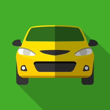 Colorful yellow taxi car icon in modern flat style with long shadow. Car parts and service vector illustration Ilustrace