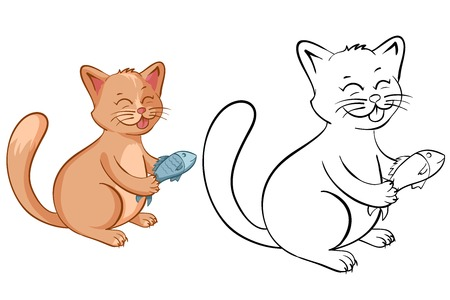 Coloring book page for kids with funny cartoon cat with fish. Vector illustration