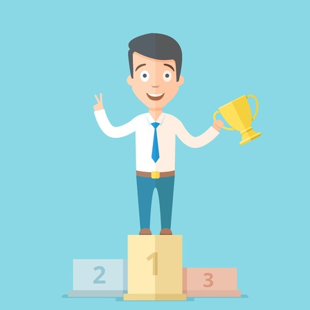 Happy young businessman holding a golden cup in his hand on the first place on the podium. Cartoon vector business concept illustration. Reklamní fotografie - 68870035