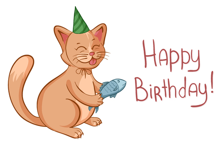 Happy birthday card with cute cartoon cat in hat gives a fish. Vector illustration