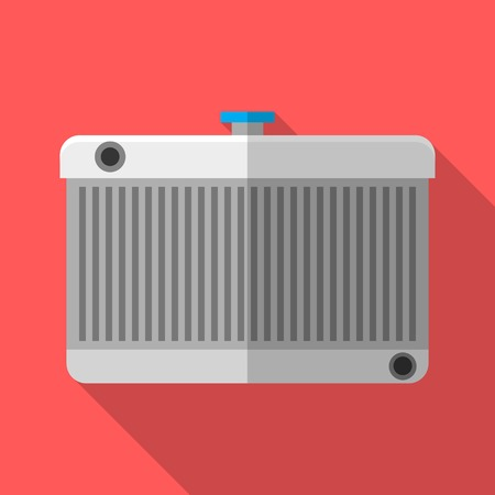 Colorful car radiator icon in modern flat style with long shadow. Car parts and service vector illustration Ilustrace