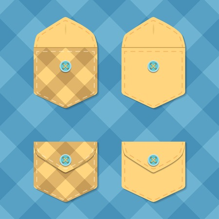 Set of opened and closed pockets. Checkered envelope template vector illustration.