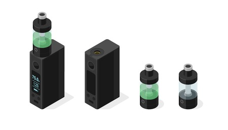 Isometric vector icon set of electronic cigarette and vaping e-liquid into atomizer tank. Modern box mod personal vaporizer variable voltage device  3d illustration isolated on white background Ilustrace