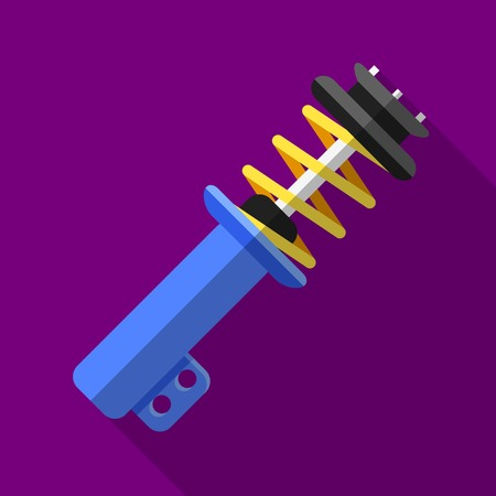 Colorful shock absorber icon in modern flat style with long shadow. Car parts and service vector illustration