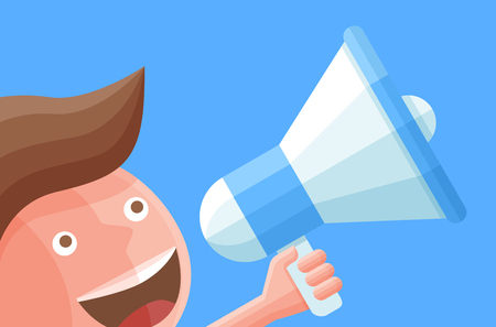 Cartoon businessman character with megaphone. Business vector illustration.