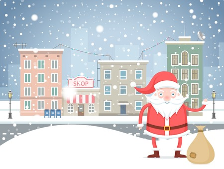 Cute cartoon Santa Claus  with bag in the small town on holidays. Christmas winter snowfall cityscape background.