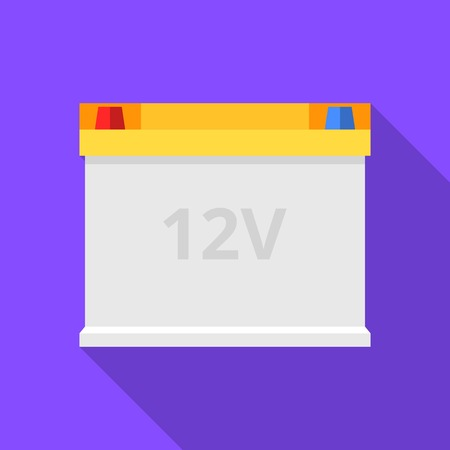 Colorful car battery icon in modern flat style with long shadow. Car parts and service vector illustration Ilustrace