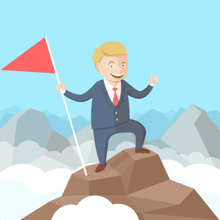 Happy successful businessman with flag in his hand on the peak of the mountain. Flat vector illustration Reklamní fotografie - 68870050
